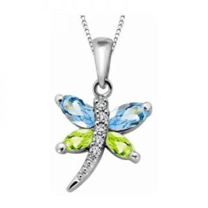 Genuine stones and diamond butterfly pendant for her