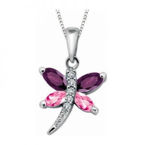 "Genuine stones and diamond butterfly pendant for her, including 18"" long chain"
